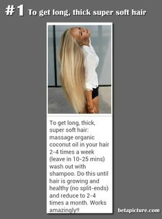 body beauty health tips long soft hair organic coconut oil