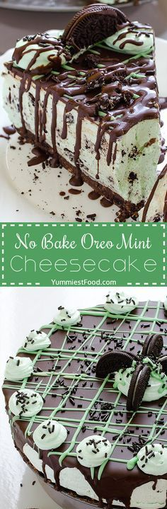 No Bake Oreo Mint Cheesecake - try to make this Cheesecake, and you will see that you have never made easiest cake that is so yummy! So easy to make without baking, Oreo Mint Cheesecake!