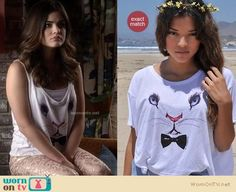 Aria's white bunny rabbit bow tie top and pink jacquard jeans on Pretty Little Liars.  Outfit Details: https://wornontv.net/11267/ #PLL