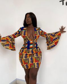 Ankara printed dress / kitenge short dress for women's / party dress for women's / African print sex mind dress for weddings and party - African fashion Black Women Fashion, Look Fashion, Fashion Models, Girl Fashion, Fashion Outfits, Female Fashion, Black Fashion Bloggers, Fashion Hacks, Street Fashion
