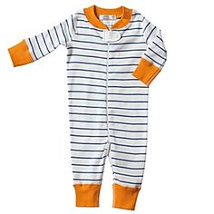 Hanna Andersson Baby Sleeper - Blue Stripe | Serena & Lily -- what your baby lives in in the first 3 months