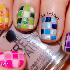 This is friggin' awesome!! -- Rainbow mosaic nail art design