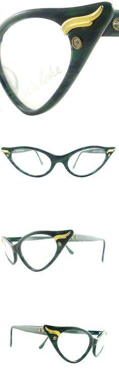 Eyeglasses 175805: Vintage Cat Eye Glasses Eyeglasses Sunglasses New Frame Eyewear Green And Black -> BUY IT NOW ONLY: $140 on eBay!