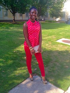Print Matching, Python Skin Clutch, Leopard Shoes, Polka Dot Shirt, Red on Red, Sophisticated Bold