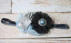 Silver Moonlight - headband in black, silver, grey, and sky blue by SoTweetDesigns