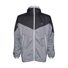 03995d2d178d NIKE Mens Windrunner Hooded Full Zip Track Jacket (Dark Grey Wolf  Grey White Game Royal Grey