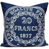 French Coin - Navy Pillow