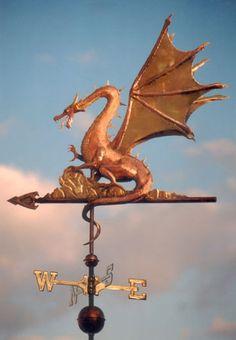Dragon girouette en cuivre