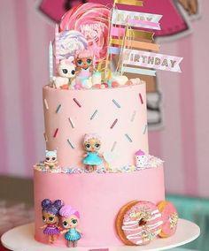 Doll Birthday Cake, Funny Birthday Cakes, 6th Birthday Parties, Girl Birthday, Birthday Ideas, Bolo Super Mario, Lol Doll Cake, Surprise Cake, Surprise Birthday