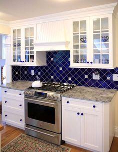 amazing blue backsplash contemporary - home design ideas