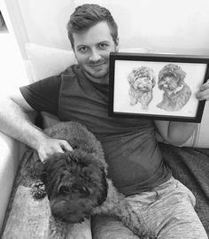 How adorable is this!  This is a sketch I did of the beautiful girlies Rolo and Snoop for their dad's birthday earlier in December! Their fur-mum ordered this sketch as a special birthday present and as you can see I think they like it!  I love seeing photos of happy customers it truly makes it all worth it