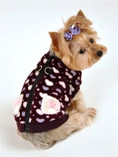 back view of Hip Doggie Luxuriously Soft Plush Polar Fleece Hearts Sweater Vest for dogs in color Deep Purple shown on dog