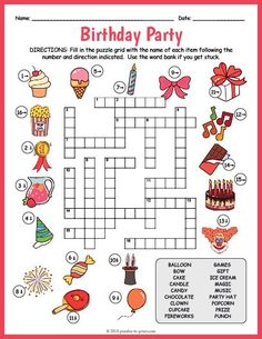 Free Printable Birthday Party Crossword