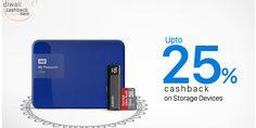 Get upto 25% cashback on External hard Disk, Pen Drives & Memory cards at Paytm  #Cashback #PaytKaro #Storage #Shopping #Diwali #india