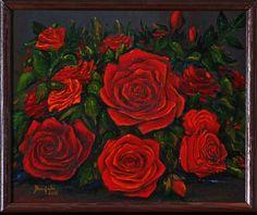 Czerwone róże, bez wazonu...