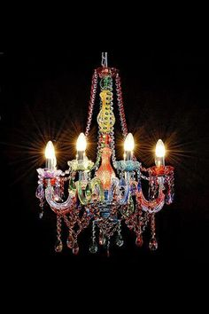 My aunts new fantastic plastic chandelier chandeliers multi color chandelier mozeypictures Images