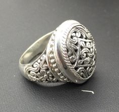 Bali Sterling Silver Open Work Floral Oval Statement Ring 11.3 gr Sz 7