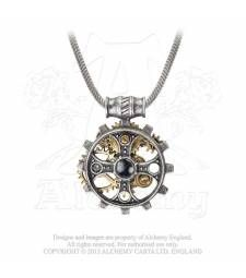 Foundryman's Ring Cross P606 The symbol of the old faith embodied and covertly embedded in the gears and steal of the ironworkers soul.  A pewter cross in a gearwheel ring with brassed two-tine cogs and gears behind. On a barrel mount