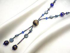 ハンドメイド Yライン ITALY製ベネチアンネックレス141ブルー Handmade necklace ¥390yen 〆03月31日