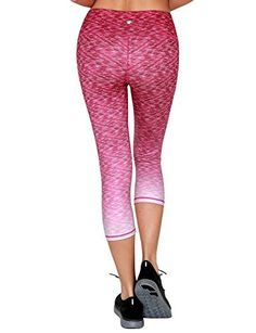 Yoga Reflex Womens Printed Yoga Running Workout Leggings Capris Hidden Pocket  Fuchsia  Small -- Click image to review more details.