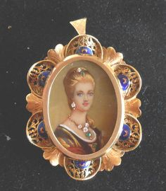 Antique 18K Gold Miniature Portrait Italy Diamonds Emeralds 12 33 grams Enamel | eBay