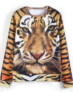 Yellow Long Sleeve Tiger Print Loose Sweatshirt - Sheinside.com