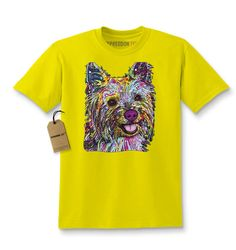 690f768a0 Kid's Rainbow Yorkie Terrier Shirt Printed Youth Abstract Psychedelic Dog T- Shirt #1222