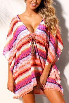 Rosy Multicolor Bohemian Print Caftan Beach Cover-up