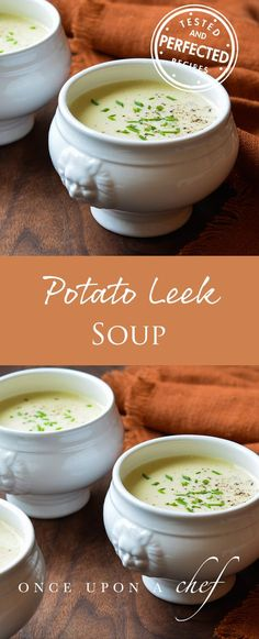 Potato Leek Soup is a French classic. Add watercress for Potage au Cresson, serve it chilled for Vichyssoise — or top it with bacon, fried leeks, fresh herbs or diced vegetables. There are endless variations; just use your imagination to make it your own. Soup Recipes, Dinner Recipes, Cooking Recipes, Healthy Recipes, Healthy Soup, Creamy Potato Leek Soup, Potato Soup, Potatoe Leek Soup Recipe, Cream Of Leek Soup