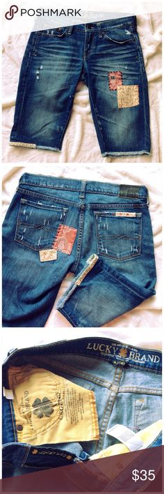 """LUCKY BRAND ZOE BERMUDA Cute soft patchwork shorts. Great condition. 12"""" inseam or wear rolled. 7.5"""" rise. Lucky Brand Shorts Jean Shorts"""