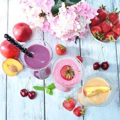 Break out your spring clothes and your spring smoothies! These perfectly sippable healthy smoothie recipes include fresh flavors and fruits such as strawberries, mango and coconut water. These pretty smoothies are great for breakfast or a healthy dessert treat.