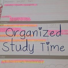 Organized Charm: Organized Study Time. Tips for studying and staying on track with assignments, and studying.