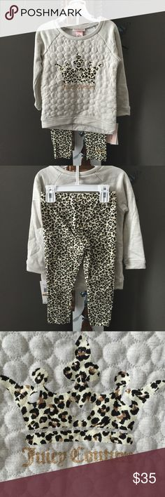 Juicy Couture Toddler Pant Suit Adorable light grey quilted sweatshirt with leopard  & gold glitter Juicy Couture with leopard matching pants. Polyester, cotton & lurex blend. Machine wash & dry. NWT Juicy Couture Matching Sets
