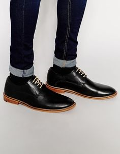 Image 1 of Unsung Hero Derby Shoes In Black Leather