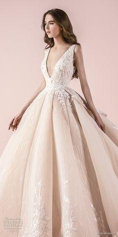 saiid kobeisy 2018 bridal sleeveless deep v neck heavily embellished bodice romanitc princess blush color ball gown wedding dress (3258) zv -- Saiid Kobeisy 2018 Wedding Dresses