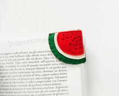 Lesezeichen, Buchecke als gefilzte Wassermelone / superfood: felt watermelon bookmark, fruits by inspirationalGecko via DaWanda.com