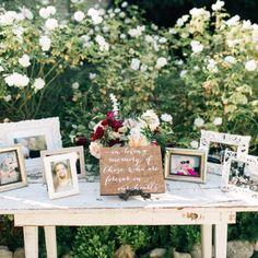 In Loving Memory Sign In loving memory wedding sign in Wedding In The Woods, Farm Wedding, Dream Wedding, Wedding Reception, Boho Wedding, Reception Table, Wedding Rustic, Reception Ideas, Wedding Photo Table