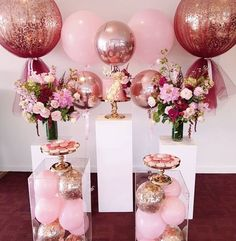 A beautiful and simple set up for Ellys christening balloons florals by plinths and cake stands by Party Decoration, Balloon Decorations, Birthday Decorations, Baby Shower Decorations, Wedding Decorations, Table Decorations, Sweet 16 Birthday, Birthday Parties, Birthday Table