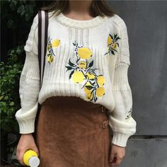 b8e290076b Semi-cropped knit sweater, cream with cute lemon detailing. Thrifted in  Germany and