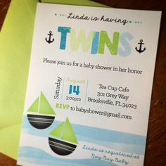 Twins Nautical Baby Shower Invitations by Eleven Eleven Pixel, www.elevenelevenpixel.com