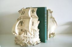 Ships Have Sailed - Vintage Chalk Ware Pirate Ship Bookends