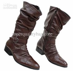 Brown Punk Buckle Side Zipper Outdoor Winter Leather Shoes,US Size 6-10.jpg (578×562)