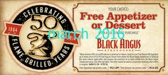 Black Angus Steakhouse coupons & Black Angus Steakhouse promo code inside The Coupons App. Appetizer or dessert free with your entree at Black Angus Steakhouse April Store Coupons, Grocery Coupons, Coupons For Boyfriend, Free Printable Coupons, Up Bar, Bar Menu, Extreme Couponing, Coupon Organization, How To Memorize Things