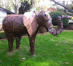 elephant yard art   Animal Yard ART Elephant Bronze Metal Aluminum Garden Statue   eBay