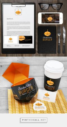 RENDEZ-VOUS BURGER BRANDING   Anik Bonnema Packaging design for the fast food restaurant Rendez-Vous Burger. It was inspired by the geometrical shape of the logo. The choice of dark colors as well as the simplicity of this design create elegance.
