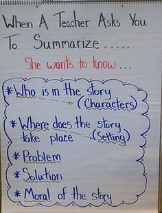 Thoughts of a Third Grade Teacher: Charts and Posters Everywhere! - When a Teacher Asks You to Summarize. Reading Workshop, Reading Skills, Writing Skills, Reading Strategies, Essay Writing, Writing Topics, Reading Response, Study Skills, Writing Prompts