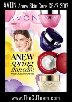Anew Spring Skin Care.  Save big with Avon.  Avon Campaign 6 and 7, 2017 - Anew Kits with FREE Samples.  Shop Avon Campaign 6/7, 2017 online through February 15  through March 15, 2017.  #Avon#CJTeam#AvonFlyer #AvonCampaign6 #Campaign6 #Campaign7 #AvonCampaign7 #AnewKit #FreeSamples #AnewKits#SaleSell Avon Online @www.CJTeam.us. Shop Avon Anew Online @www.TheCJTeam.com