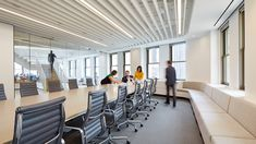 Perkins Will_Chicago Office_Decoustics_Claro_Acoustic_Baffles_Ceiling. Corporate Interiors, Office Interiors, Baffle Ceiling, Office Ceiling, University Of Cincinnati, Ceiling Light Design, Acoustic Panels, Waterfront Homes, Commercial Interiors