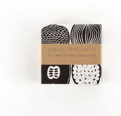 Ceramic Tile Coasters Marimekko Kompotti Black and White or Color Version by Tilissimo on Etsy https://www.etsy.com/ca/listing/127491654/ceramic-tile-coasters-marimekko-kompotti