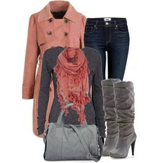 Pink coat, grey shirt, brown scarf, fall outfit, autumn outfit